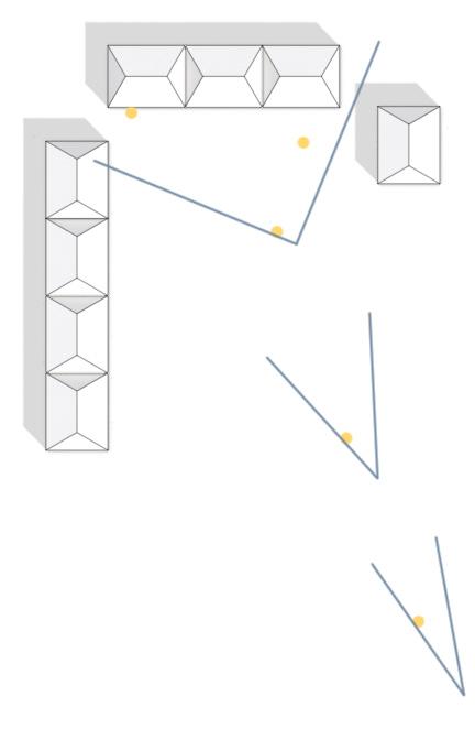 Standorte der Kameras (blaue Winkel) und Menschen (orange Kreise)
